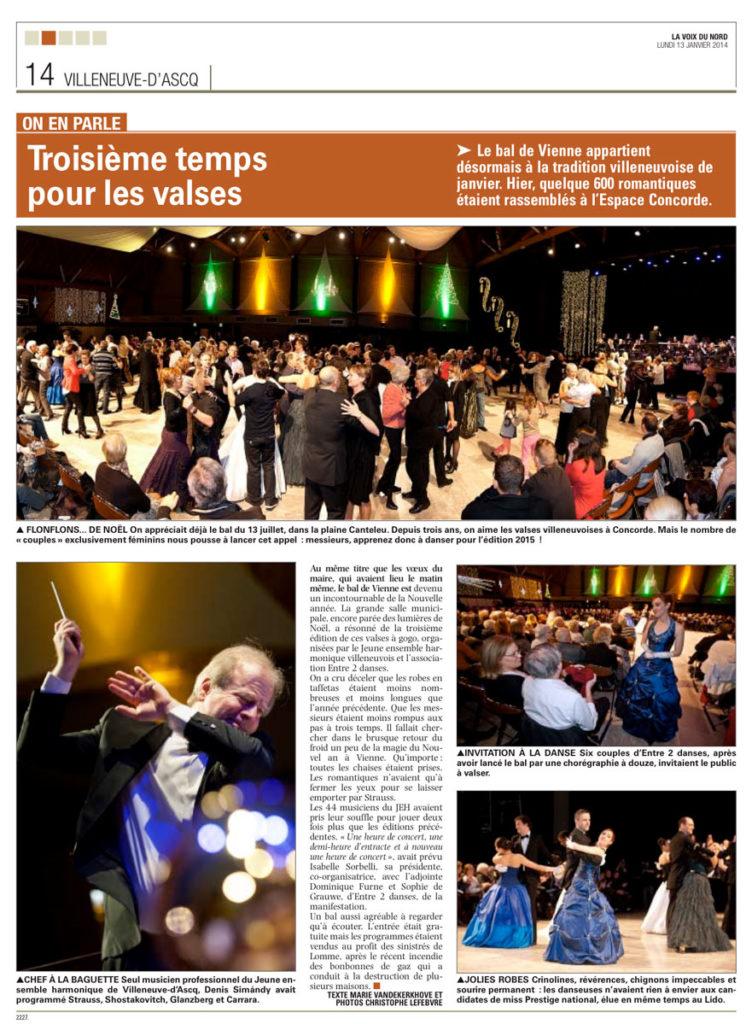 JEH article Voix du Nord 13 Janvier 2014